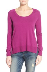 Women's Halogen Knit Scoop Neck Step Hem Pullover Purple Clover