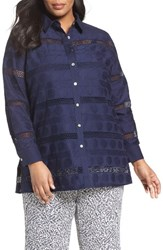 Foxcroft Plus Size Women's Circle Eyelet Tunic Shirt