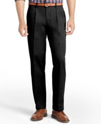 Izod American Pleated Classic Fit Wrinkle Free Pleated Chino Pants Black