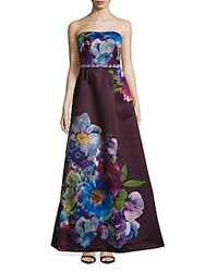 Monique Lhuillier Iris Straight Across Floral Print Gown Wine Multicolor