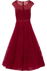 Marchesa Notte Embellished Tulle Midi Dress Claret