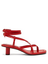 Proenza Schouler Cylindrical Heel Wrap Around Leather Sandals Red