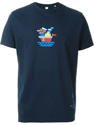 Aspesi Sailor Print T Shirt Blue
