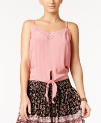 American Rag Tie Front Crochet Trim Top Only At Macy's Dusty Rose