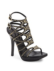 Versace Strappy Studded Leather Platform Sandals Black