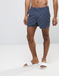 Asos Swim Shorts With Polka Dot Print And Fixed Waistband In Short Length Navy