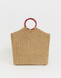 Whistles Eastway Straw Bag With Resin Handle Tan