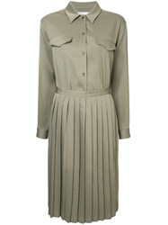 08Sircus Pleated Skirt Shirt Dress Green