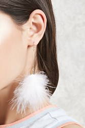 Forever 21 Feather Drop Earrings White Gold