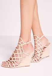 Missguided Laser Cut Wedge Sandal Nude Beige