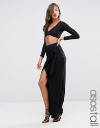 Asos Tall Maxi Skirt With Twist Knot Black