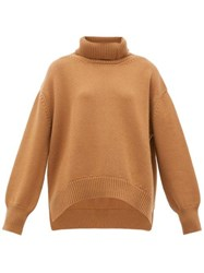 Connolly Oversized Roll Neck Cashmere Sweater Camel