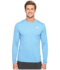 New Balance Long Sleeve Heather Tech Tee Electric Blue Heather Men's Long Sleeve Pullover