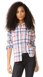 Sundry Basic Plaid Shirt White