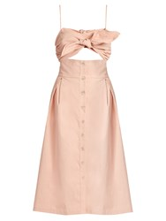 Sea Bow Front Midi Length Dress Light Pink