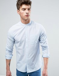 Solid Striped Shirt With Grandad Collar In Regular Fit 1025 White