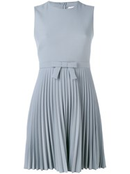 Red Valentino Bow Detail Pleated Dress Women Polyester Spandex Elastane Acetate Viscose 44 Grey