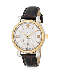 Versace Urban Gent Goldtone Stainless Steel And Embossed Leather Watch Silver Gold