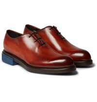 Berluti Blake Whole Cut Polished Leather Oxford Shoes Brick
