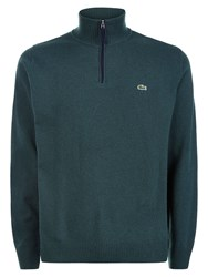 Lacoste Men's Marl Knit Sweater With Zip Collar Dark Green