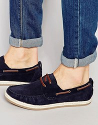 Dune Boat Shoes In Navy Suede Blue