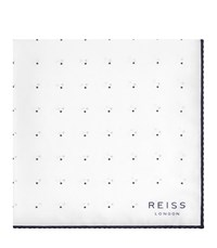Reiss Helmar Mens Silk Dotted Pocket Square In White