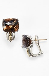Women's Lagos 'Prism' Stud Earrings Silver Smokey Quartz