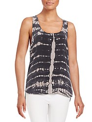 Gypsy 05 Tie Dye Silk Tank Top Noir
