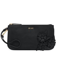 Nine West Floral Applique Wristlet Black