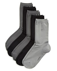 Calvin Klein Hosiery Microfiber Crew Socks Set Of 5 Black Gray