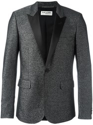 Saint Laurent Peaked Lapel Metallic Blazer Black