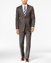 Tommy Hilfiger Brown Plaid Slim Fit Suit