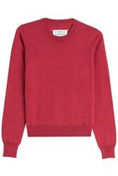 Maison Martin Margiela Maison Margiela Cotton Pullover With Leather Elbow Patches Red