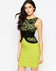 Vesper Ronnie Pencil Dress With Lace Top Detail Lime Green