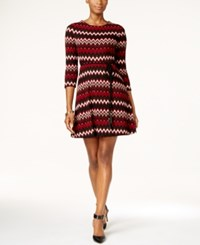 Sandra Darren Petite Chevron Print Fit And Flare Sweater Dress Black Wine Cream