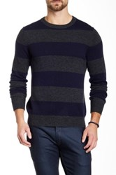 Qi Cashmere Crew Neck Rugby Stripe Sweater Blue