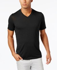 Inc International Concepts Men's Distressed V Neck Cotton T Shirt Only At Macy's Deep Black