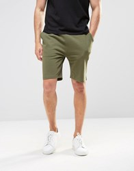 Asos Jersey Shorts In Green Burnt Olive