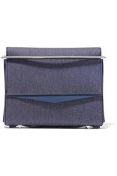 Eddie Borgo Boyd Small Leather Trimmed Denim Clutch Indigo