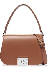 Calvin Klein 205W39nyc Bonnie Grosgrain Trimmed Leather Shoulder Bag Tan