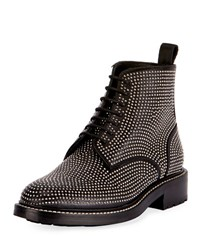 Saint Laurent William Studded Leather Combat Boot Black