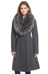 Vera Wang 'Serena' Faux Fur Collar Wool Blend Fit And Flare Coat Charcoal