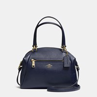 Coach Prairie Satchel In Pebble Leather Light Gold Navy