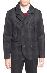 Men's Robert Graham 'O'connor' Plaid Double Breasted Flannel Peacoat