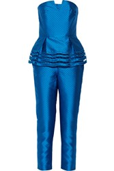 Noir Sachin And Babi Spate Laser Cut Satin Twill Jumpsuit Blue