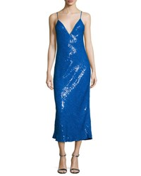Diane Von Furstenberg Havita Sequin Embellished Midi Slip Dress Neptune Blue