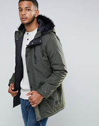 Tokyo Laundry Parka Jacket With Faux Fur Hood Green