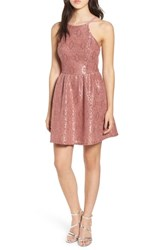Speechless Lace Halter Low Back Party Dress New Mauve