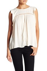 Harlowe And Graham Sleeveless Crochet Inset Blouse White