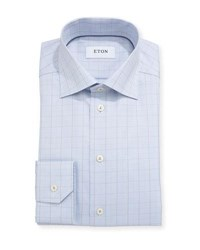 Eton Glen Plaid Windowpane Dress Shirt Light Blue